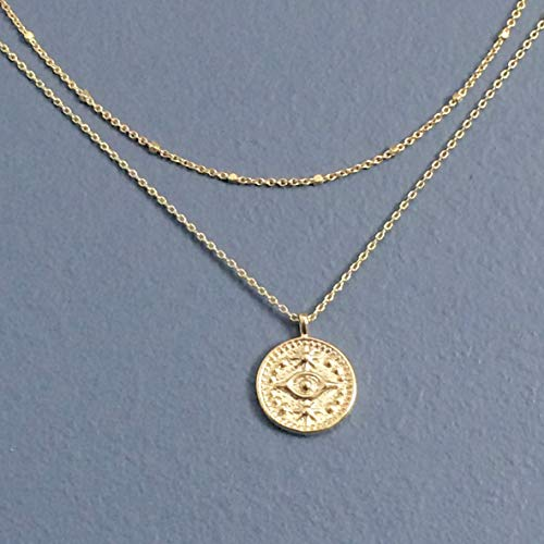 WAS $34.00 - RM JEWELRY STUDIO - two strands/layered, EYE disk, medallion, charm, pendant, GOLD plated necklace, simple, small, everyday - Eye Medallion Necklace