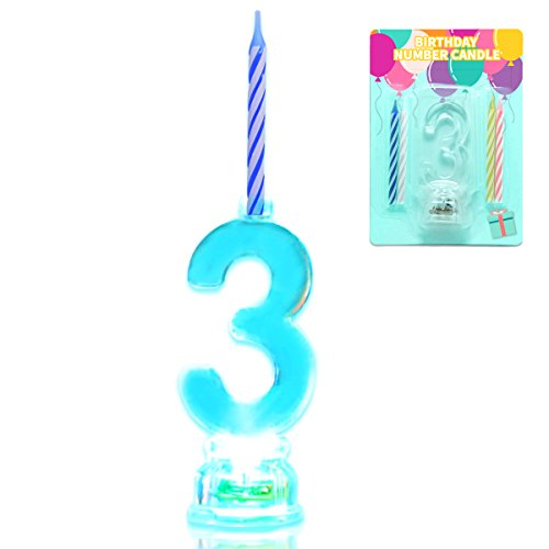 (Novelty Place Multicolor Flashing Number Candle Set, Color Changing LED Birthday Cake Topper with 4 Wax Candles (Number 3))