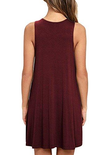 Poches Robe De Réservoir De Femmes Dutebare Tunique Swing Casual Robes T-shirt Rouge De Vin