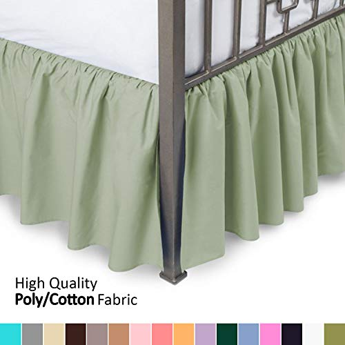 Ruffled Bed Skirt with Split Corners - King, Sage, 18 Inch Drop Bedskirt (Available in and 16 Colors) Dust Ruffle.