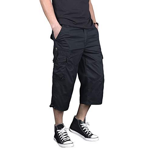 Menargo 3/4 Men's Elastic Twill Loose Fit Outdoor Cargo Pants Casual Capri Long Shorts(Black 3XL) ()