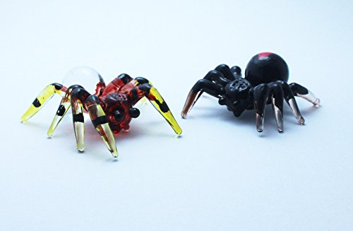 Double Spider Animal Handcrafted MINIATURE HAND BLOWN GLASS FIGURINE Collection