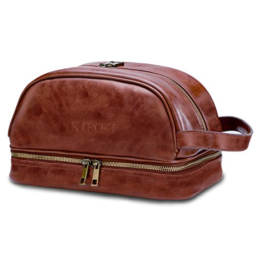 9f09a2f36b40 KIPOZI Leather Toiletry Bag Men Travel Toiletry Organizer Shaving Dopp Kit  for Business Trips... From KIPOZI