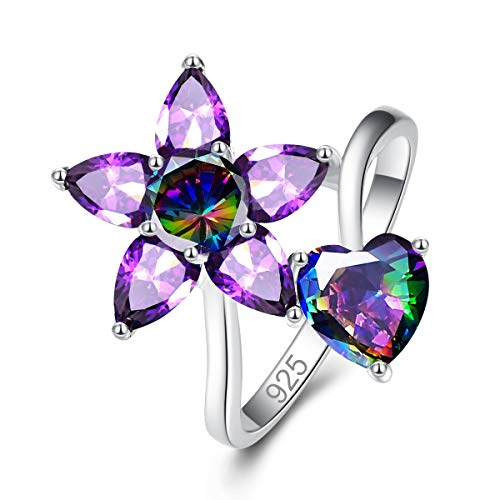 Baby Ring Heart Topaz - Psiroy 925 Sterling Silver Created Rainbow Topaz Filled Flower & Heart Ring for Women Size 8