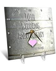 InspirationzStore Occasions - 10th Wedding Anniversary gift - Tin celebrating 10 years together - tenth anniversaries ten yrs - Desk Clocks