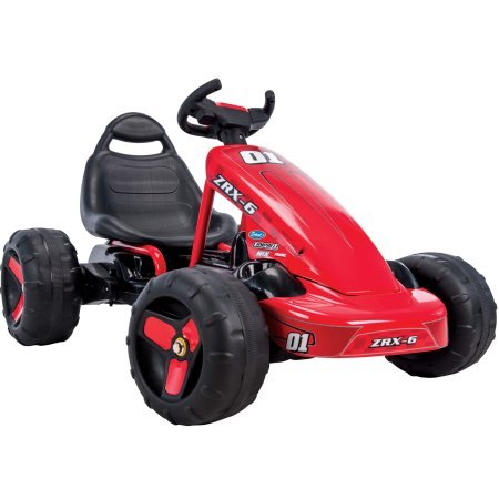 Eye-Catching,Fun and Exciting Huffy ZRX-6 Battery-Powered 6V Electric 2 in 1 Pedal Go-Kart Ride-On,With High-Back Seat,Slick-Looking Steering Wheel,Push Button Accelerator,Red/Black