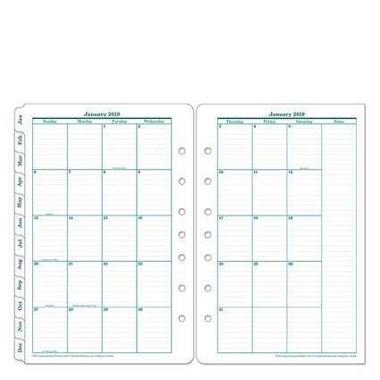 FranklinCovey 35399 Original Dated Monthly Planner Refill, January-December, 5 1/2 x 8 1/2, 2019