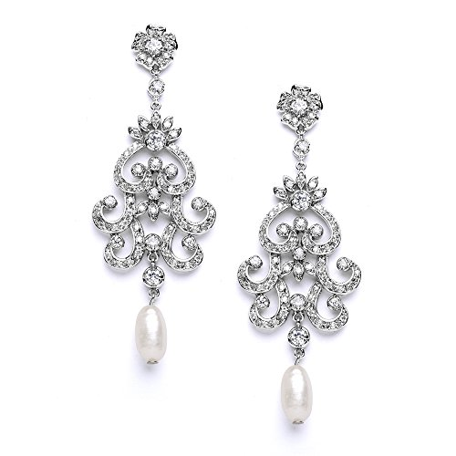 Mariell Gatsby Vintage Wedding Bridal Chandelier Earrings for Women - Genuine Freshwater Pearl & CZ - Freshwater Pearl Chandelier Earrings
