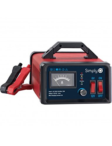 Simply BTC-1001A Metal CASE Smart 5Amps, Charging and Maintaining 6V/12V Vehicle Batteries, Incorporates AC Wall Charger Heavy Duty Protection
