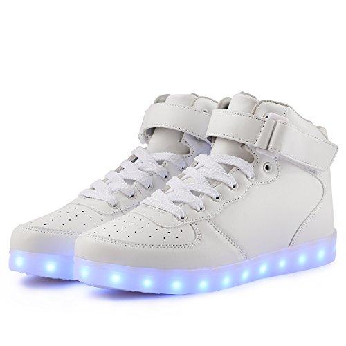Aosifu 7 Kleuren Dames Heren Jongensmeisje Hoge Led Schoenen Met Led-verlichting Knipperende Sneakers Wit