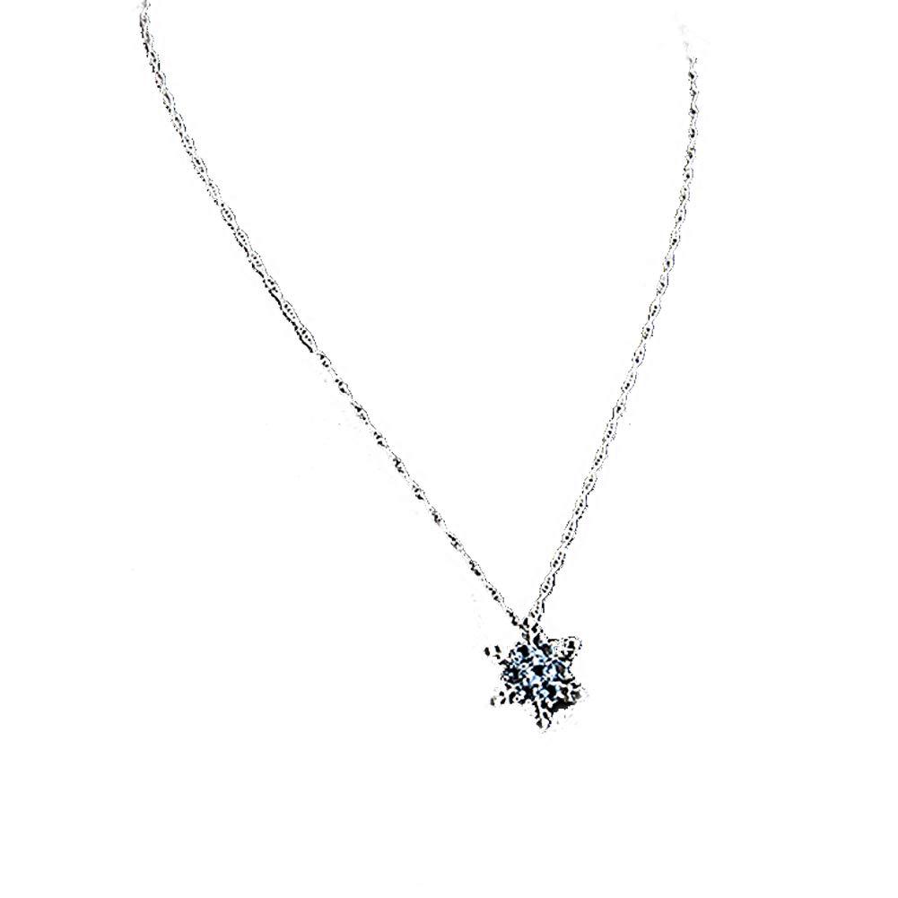 LALANCHE Uniquely designed Christmas pendant necklace ladies snowflake crystal alloy Christmas pendant (light blue) Adjustable