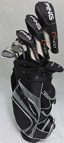 Mens Ping Complete Golf Set RH Driver, Wood, Hybrid, Irons, Putter, Clubs & Cart Bag Stiff Flex