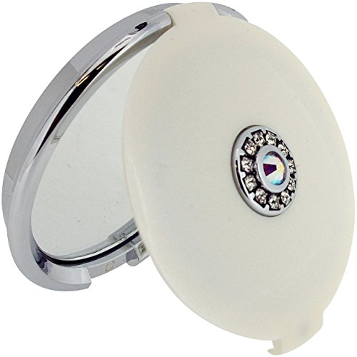 (FMG Pearl Round 5x Magnification Compact Mirror made with Swarovski Crystals, in Gift Presentation Box)