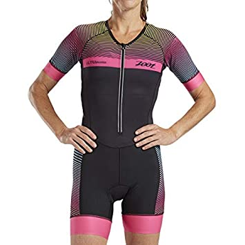 Zoot Womens Ultra Short Sleeve Aero Tri Suit - Performance Triathlon Race Suit Carbon Fabric Two Pockets