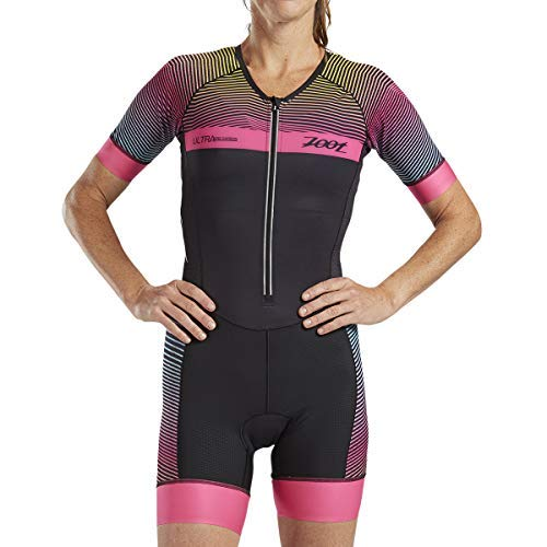 Zoot Women's Ultra Short Sleeve Aero Tri Suit - Performance Triathlon Race Suit with Carbon Fabric and Two Pockets (Medium)