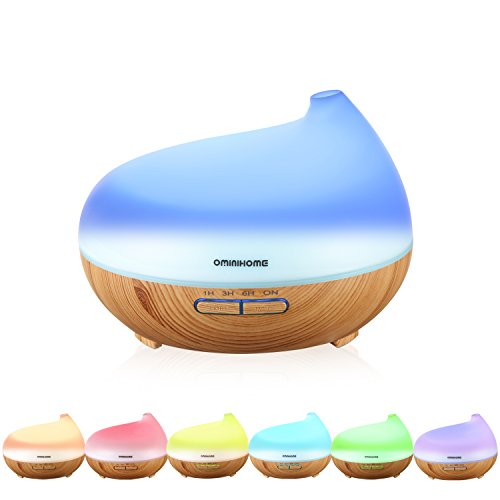 Aroma Essential Oil Diffuser - Ominihome 300ml Ultrasonic Cool Mist Humidifier - For Home Office Yoga - Wood Grain, Birthday Gift, Back to School