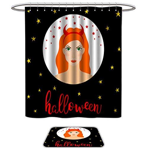 QianHe Shower Curtain Floor Mat Set of 2Happy Halloween Card Template 11. Mildew Resistant Slip mat Bath Rugs
