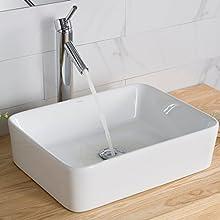 Kraus KCV-121 White Rectangular Ceramic Bathroom Sink