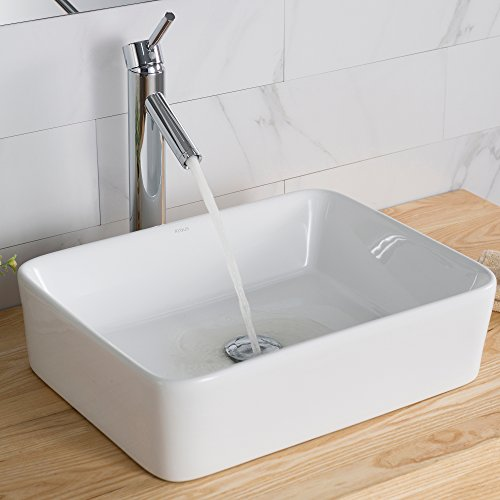 (Kraus KCV-121 White Rectangular Ceramic Bathroom Sink)