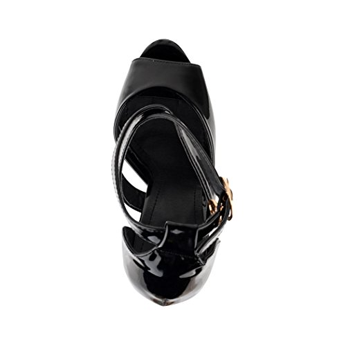 Elara Damen Pumps | Moderne Cut Out Stilettos | Peep-Toe High Heels | Chunkyrayan Schwarz Paris