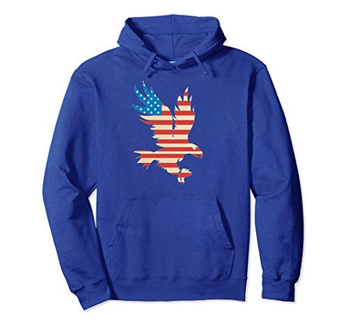 Unisex American Flag Bald Eagle Hoodie - USA Sweatshirt Medium Royal Blue (Eagle Sweater Cotton American)
