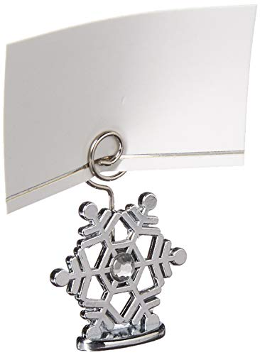 Kate Aspen Sparkling Snowflake Place Card Holders (Set of 6), Silver