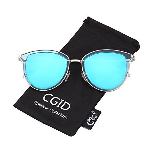 Doble Metálico Gafas de Polarizado UV400 MJ85 Marco Espejo lente Plateado Círculo la Retro Sol de Azul CGID nqRHfxPWYT