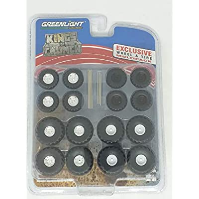 Monster Trucks Wheel and Tire Multipack Kings of Crunch Set of 24 Pieces 1/64 by Greenlight 13169: Toys & Games
