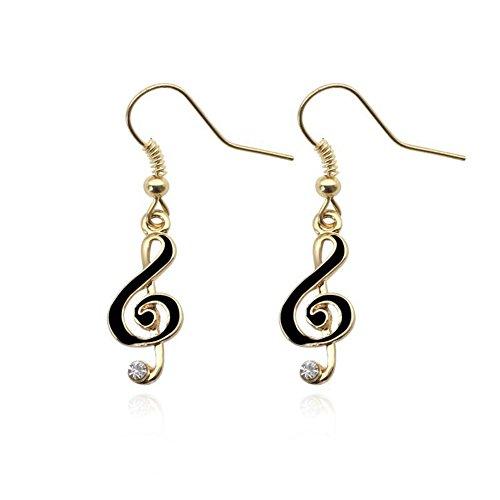 Dwcly Treble Clef Music Note Earrings Dangle Drop Style Enamel Fashion Jewelry (black)