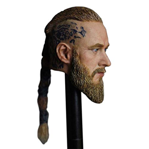 Haoun 1/6 Scale Europe America Male Figure Head Sculpt with Pigtails, Handsome Men Tough Guy, Doll Head for 12 Inch Action Figure Body - Vikings Long Hair ()