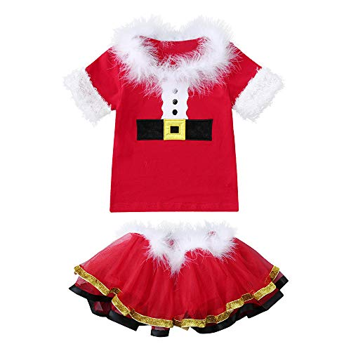 Forthery Clearance Baby Girls 2Pcs Christmas Costume Fluffy Tops + Tutu Skirt(Red, 18-24 Months) for $<!--$2.89-->