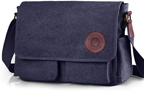 メンズ多機能アウトドアレジャースポーツバッグ大容量キャンバスブリーフケースポータブルデザインの耐摩耗や傷に強いブルー、ブラウン HMMSP (Color : Blue)