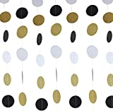GAYAN Circle Dots Paper Garland. 3 Pack of 10-Foot Garlands (30 Feet Total) as Black and Gold Party Decorations for a Wedding, Birthday Party, Halloween, or Any Event (Polka Dots - White, Gold, Black)