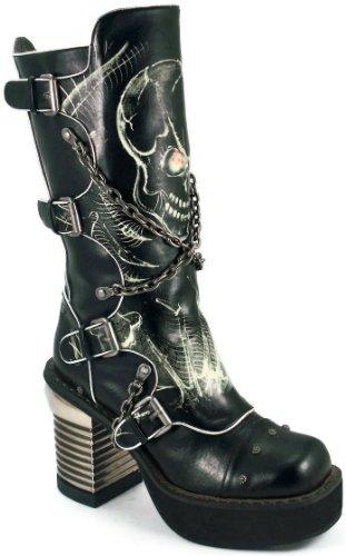 Boot HADES Skull SPAWN Steampunk Platform Biker Glow Chains 9 Eyes Unisex Black FFUtwrA