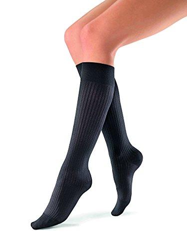 JOBST soSoft 15-20 mmHg Knee High Compression Socks, Ribbed Pattern, Black, Medium (Compression Socks High Ribbed)