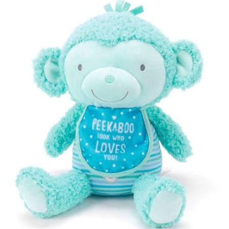Peek A-boo Pocket (Hallmark - PEEK - A - BOO PLUSH MONKEY - Allows you to Record a Special Message and also add a Photo in a Clear Pocket Under the Bib)