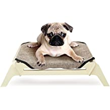 PLS Manufacturing Wooden Elevated Dog Bed, Small, Plain Canvas, Raised Dog Bed off the Ground, Natural Plywood Frame, Pet Cot