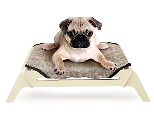 [OVERSTOCK SALE] PLS Pet Wooden Elevated Dog Bed, Medium, Plain Canvas, Raised Dog Bed off the Ground, Natural Plywood Frame, Pet Cot