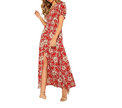 Waist Floral Maxi Red V Neck Short Sleeve High Waist Dress 2018 Summer Beach Vacation Dress,X-Small,Red (Silhouette Rosenthal)