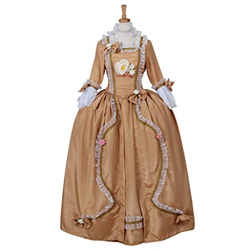 [CosplayDiy Women's Rococo Medieval Aristocrat Ball Gown Victorian Yellow Dress XL] (Victorian Aristocrat Costume)
