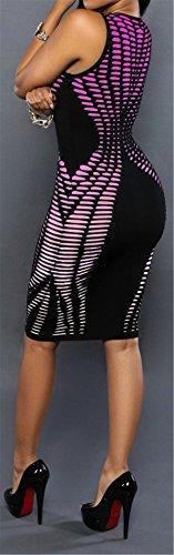 Maniche Stripe Senza Del Fasciatura Viola Bodycon Donne Allonly Clubwear Sexy Stampato Vestito Partito Dalla xCqtIa5wt