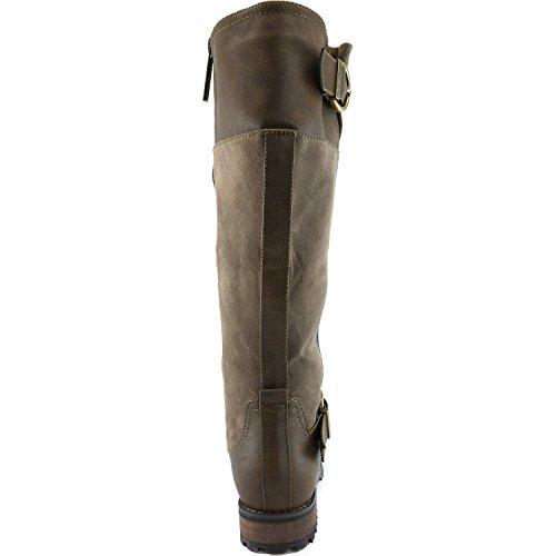 Dailyshoes Donna Fibbia Doppia Militare Stivali Da Combattimento Cerniera Laterale Moda Scarpe Marrone Sv