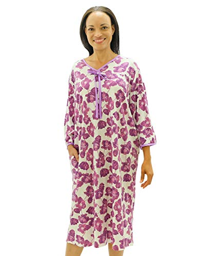 Silvert's Womens Adaptive Hospital Gown Open Back Regular and - Purple Bloom MED ()