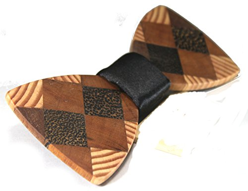 Solid Multi Exotic Woods Bow Tie with Black Satin Center (Black satin)