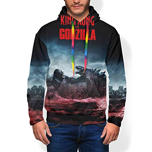 Youth Men Heavyweight Hooded Fleece Sweater for Spring Gym Halloween, King Kong Vs Godzilla Fight City On The Edge of Battle 3D Print Novelty Graphic Pullover Hoodie Cosplay Costume