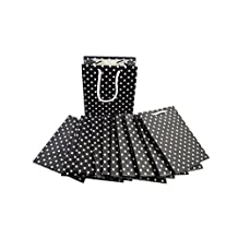 12 Pcs Luxury Party Decorated Black Dotted Bags Craft Lamination Paper Gift Bag Twisted Handles Recyclable Loot