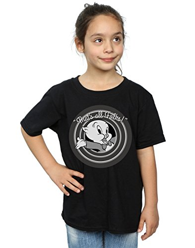Looney Tunes Girls Porky Pig That's All Folks T-Shirt 12-13 Years Black