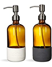 Savvy Planet Clear Glass Round Bottles w/Stainless Steel Pumps (2 Pack), Soap Dispenser with Silicone Sleeve Boot Great for Essential Oils, Lotions, Liquid Soaps