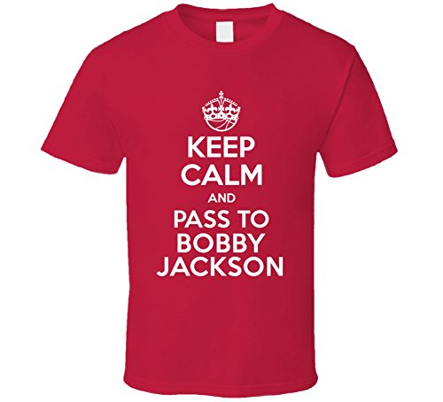 Keep Calm and Pass to Bobby Jackson Houston Basketball Players Cool Sports Fan T Shirt 2XL Red