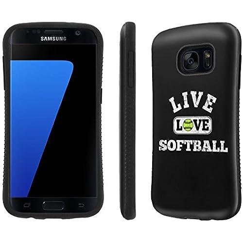Galaxy [S7] Tough Designer Case [SlickCandy] [Black Bumper] Ultra Shock Absorbent - [Live Love SoftBall] for Samsung Galaxy S7 / GS7 Sales